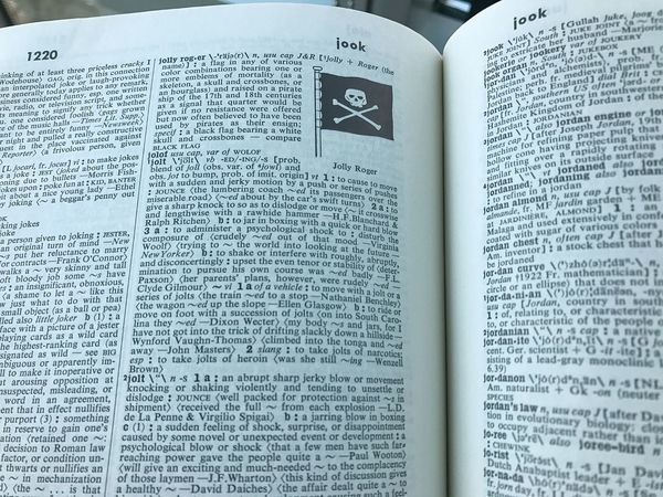 Book Text Dictionary Jolly Roger Flag Communication Western Script Page Paper Open Indoors  Literature Education No People Close-up Print Words Meaning Definition Defined
