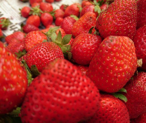 Full frame of strawberries