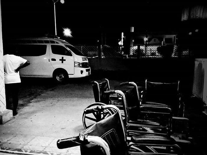 Night shift Guyana Southamerica Medicine Healthcare Medicallife Nightshift Ambulance Night Nightphotography Medical Wheelchair Health Sickness Mortality