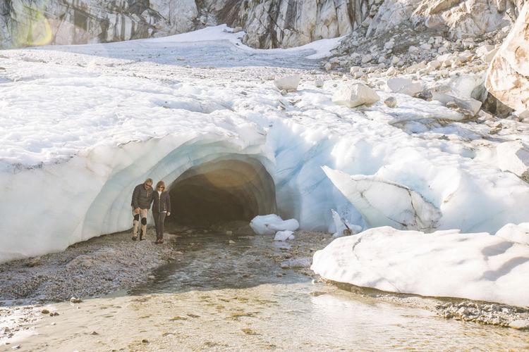 View of horse in frozen water
