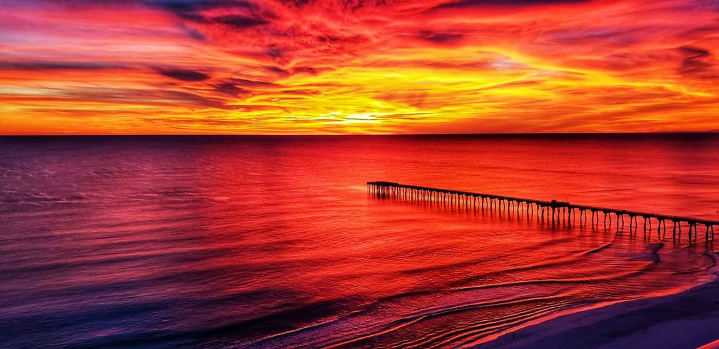 Water Sea Sunset Beach Red Groyne Reflection Dramatic Sky Orange Color Sky
