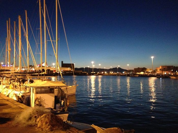 Night Water City Reflection Illuminated Sky Sea Harbor Outdoors Cityscape Sailboat Architecture Cagliari, Sardinia First Eyeem Photo