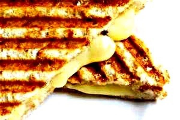 Grill cheese panini French baguette ( mozzarella , Brie, Swiss)