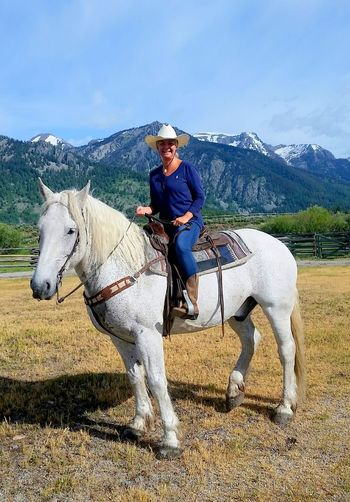 Horse Horse Named Sundance Horseback Riding Mountain Mountain Range Ranch Life Sky Tetons Wyoming