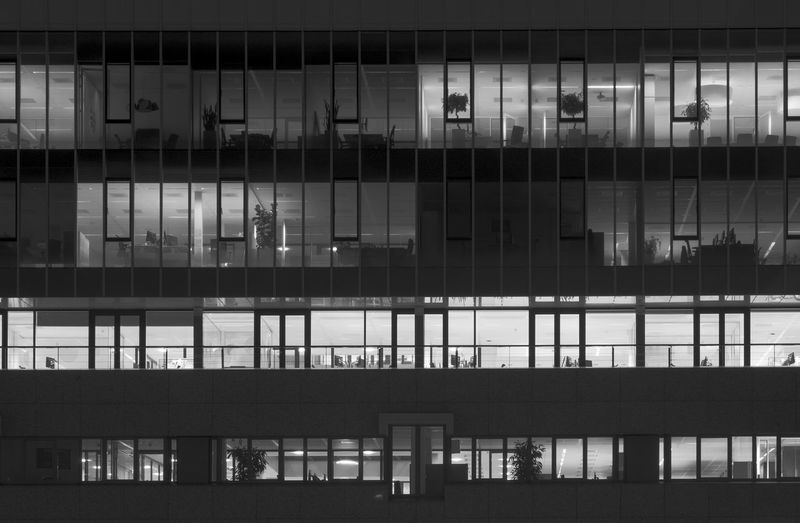 Architecture Backgrounds Building Building Exterior Built Structure Dark Day Lights Office Pattern Symmetry Windows