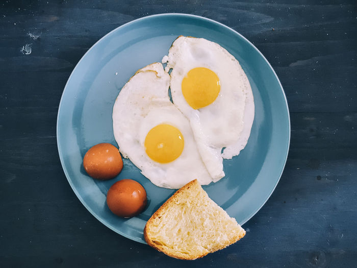 High angle view of fried eggs in plate on table