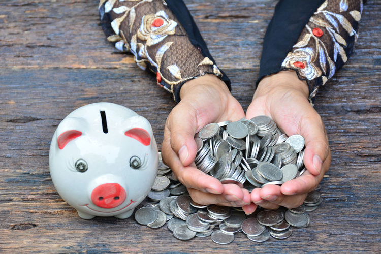 Cropped Hands Of Woman Holding Money By Piggy Bank On Wooden Table