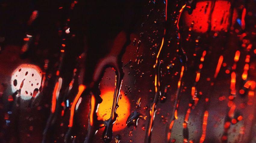 Rain Raindrops Tonight Traffic Blur