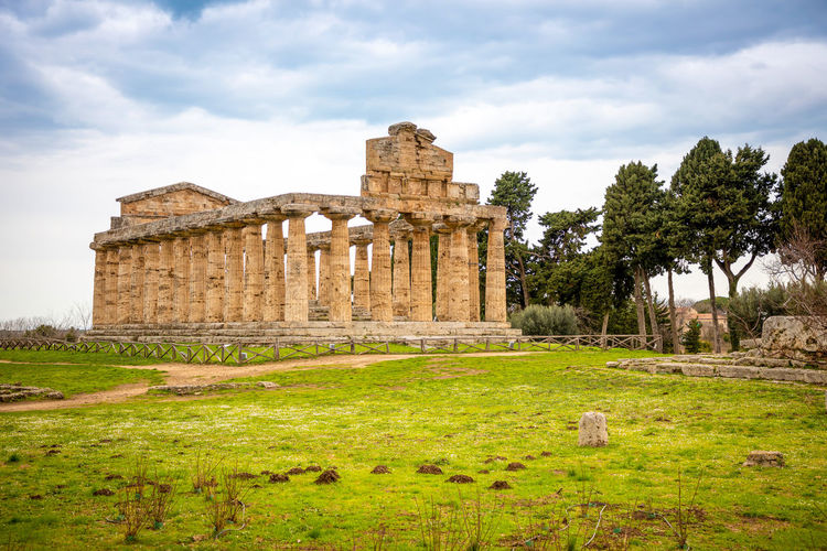 Italy Paestum History The Past Architecture Ancient Cloud - Sky Sky Travel Destinations Built Structure Ancient Civilization Plant Old Ruin Tourism Nature Travel Grass Tree Day Old Building Exterior Archaeology Architectural Column Ruined No People Outdoors