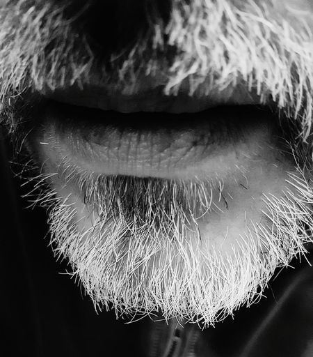 Close-up Human Body Part People Adult One Person Human Lips Beard Bearded Black And White Blackandwhite