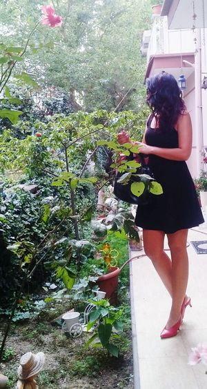 Young Women Full Length Spraying Standing Water Women Tree