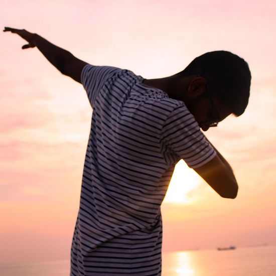Dab. 🔥 Sunset One Man Only Outdoors Standing Only Men Adults Only One Person Adult People Human Body Part First Eyeem Photo
