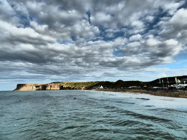 Sunny Saltburn Cliffs Sea Sea And Sky Seaside Seascape Sky Cloud Cloudscape Summer Landscape Saltburn North Yorkshire No People Streamzoofamily POTD Showcase August 2016 Tranquil Scene Water Surface Beauty In Nature