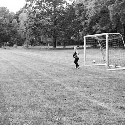 Fussball Sohn  Schwarzweiß