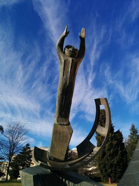 Soviet space monument.