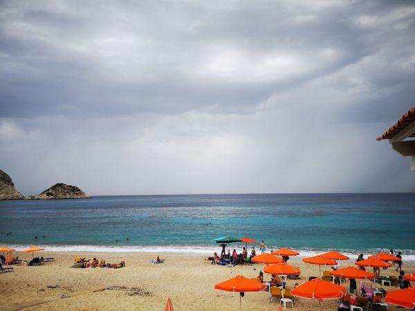Water Sea Beach Sand Summer Outdoor Chair Relaxation Sky Horizon Over Water Cloud - Sky Beach Umbrella Sunshade Wave Surf Coast Shore
