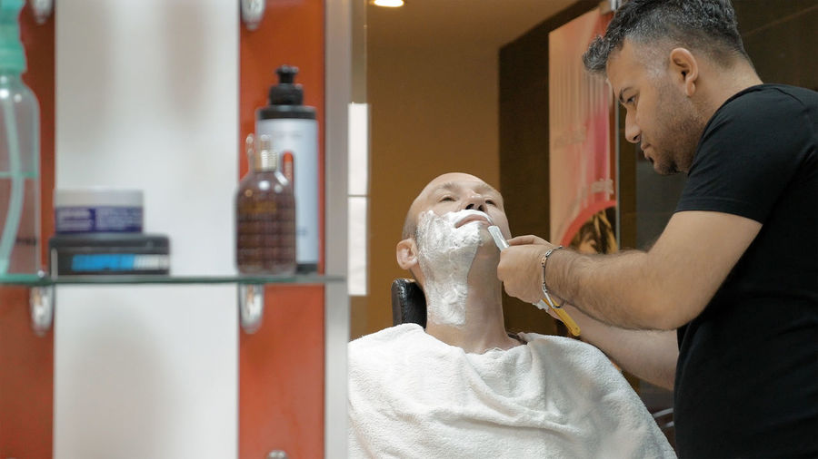 Barber Shop Barbershop Business Business Stories Knife Razor Shave Bald Barber Beard Blade Clean Cream Face Foam Grooming Grooming Salon Hairy  Male Neck Salon Sensation Sharp Style Towel