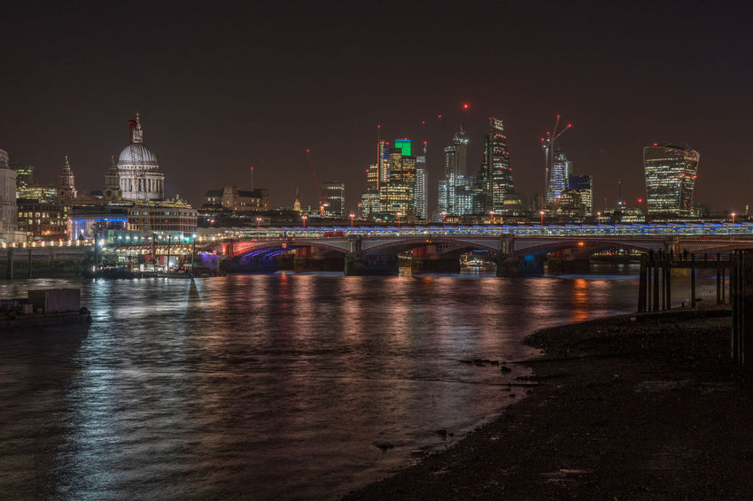 Views of Lumiere London Architecture Bridge - Man Made Structure Building Exterior Built Structure City City Life Cityscape Clear Sky Connection Illuminated Modern Night Outdoors River Sky Skyscraper Transportation Travel Destinations Urban Skyline Water Waterfront