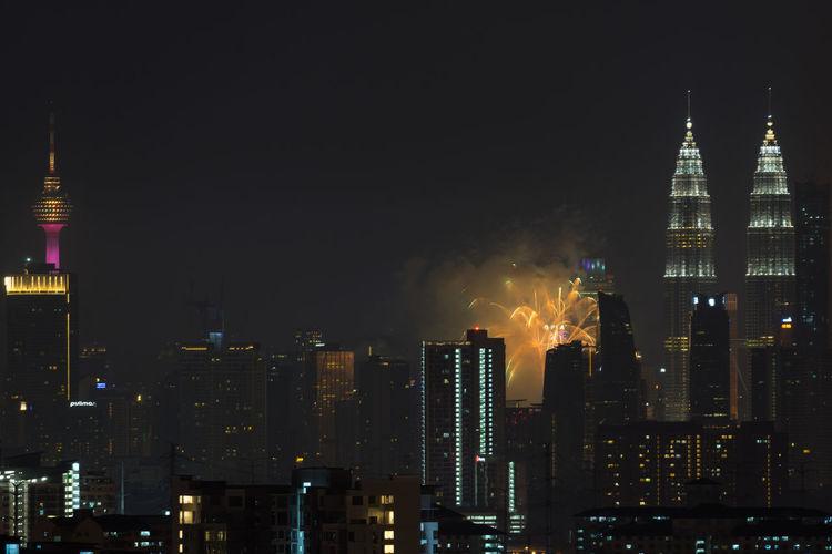 fireworks show at kuala lumpur city centre during 60th malaysia hari merdeka celebration