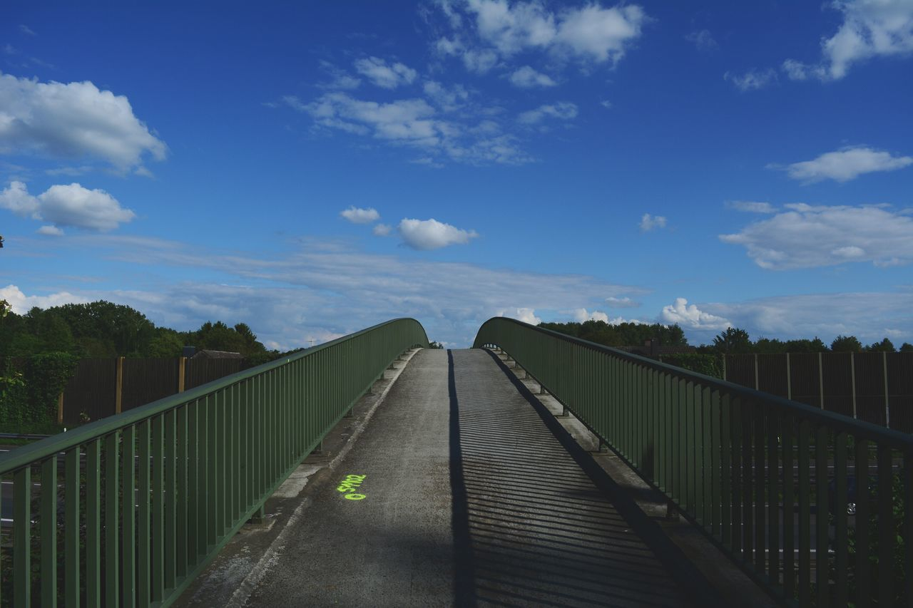 railing, sky, the way forward, outdoors, cloud - sky, bridge - man made structure, footbridge, day, no people, nature