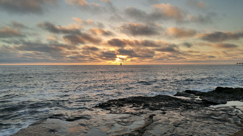 Ocean Beach San Diego Sunset Beach Beauty In Nature Cloud - Sky Horizon Horizon Over Water Idyllic Land Nature No People Orange Color Outdoors Rock Rock - Object Scenics - Nature Sea Sky Solid Sunset Tranquil Scene Tranquility Water
