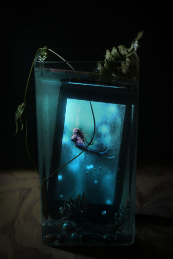 Fairytale  Nightphotography Water Sprite Blue Light Fantasy Fantasy Photography Mermaid Mermaid In Glass Narrative Talent