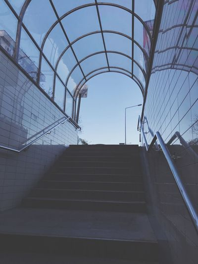 Sky Architecture Steps And Staircases Built Structure Staircase Low Angle View Day No People Clear Sky The Way Forward Arch Outdoors Direction Transportation Sunlight Nature Sky Pattern Railing Metal Building Exterior