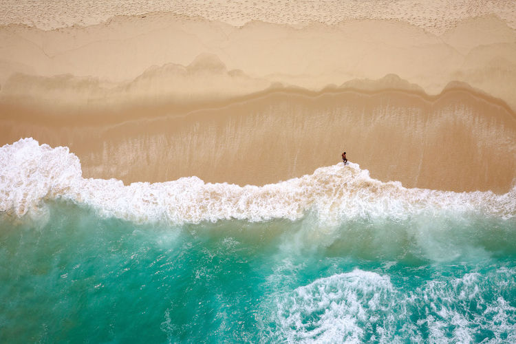 High Angle View Of Man On Beach