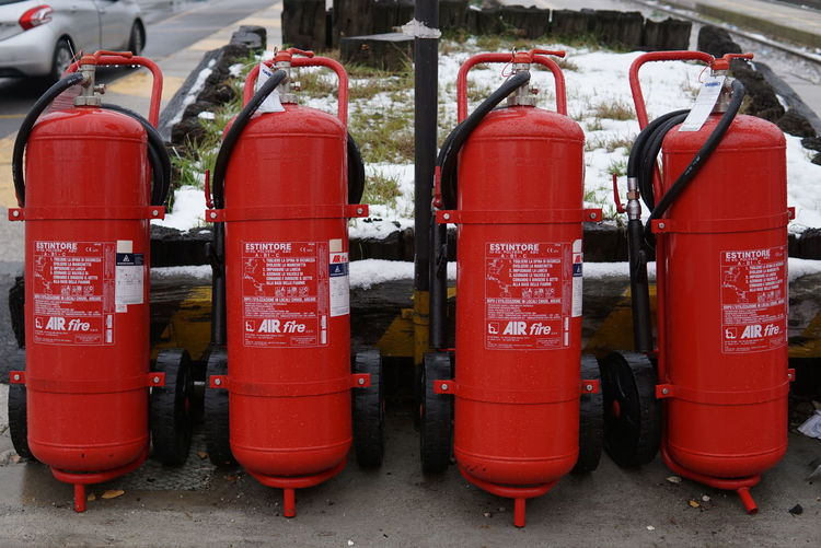 fire extinguisher at the train station area. Estintore Fire Extinguisher Powerful Red Tank Danger Dangerous Helping