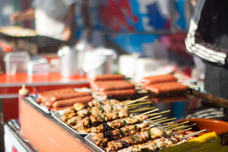 Close-Up Side View Of Kebabs On Display