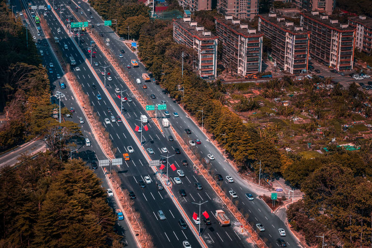 Aerial view of highway in city