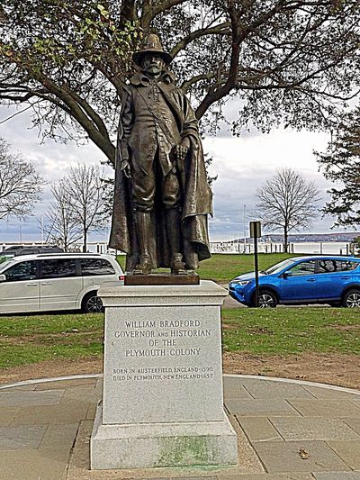 William Bradford Statue in Plymouth Massachusetts Statue Travel Destinations Memorial Monument Sculpture Day Outdoors No People City Cityscape Tree Architecture Politics And Government Plymouth Massachusetts Plymouth Statue William Bradford