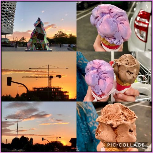 Chilling outside at Eastland Town Square and having some Ice-Cream 🍦🏢☀️🎄 Prettyskies Sunset Icecream Eastlandtownsquare Ringwoodstation Shopping Chilling Food Christmastree 🎄 MyPhotography