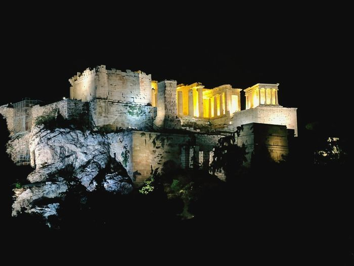The Acropolis of Athens at night. Night Illuminated Paint The Town Yellow Greece Athens Travel Travel Destinations Travelphotography