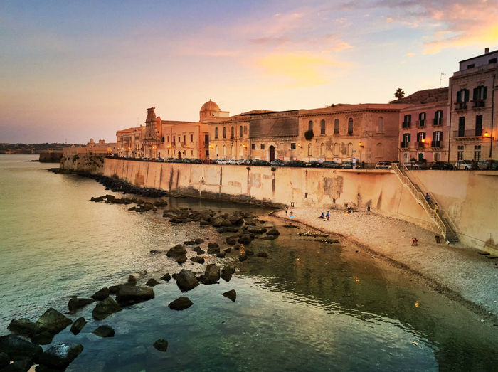 Sunset off the old city of Ortigya, Siracusa, Sicily Coast Line  IPS2015Architecture Ortigia Ortigya Sicilia Sicily Siricusa Sunset Syracuse  IPhoneography IPS2016Landscape