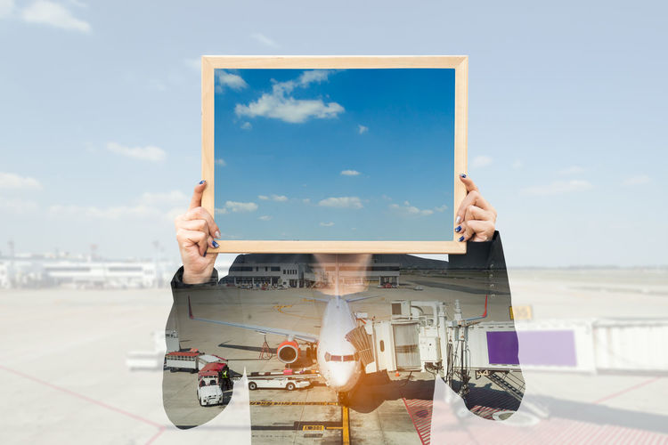 Double exposure of businesswoman holding board with aeroplane in airport Advertise Advertisement Signboard Advertising Asian  Business Double Exposure Travel Woman Abstract Advertisement Airport Banner - Sign Billboard Blackboard  Board Businesswoman Chalkboard Commercial Concept Head And Shoulders Holding Label Multiexposure  Over Sky
