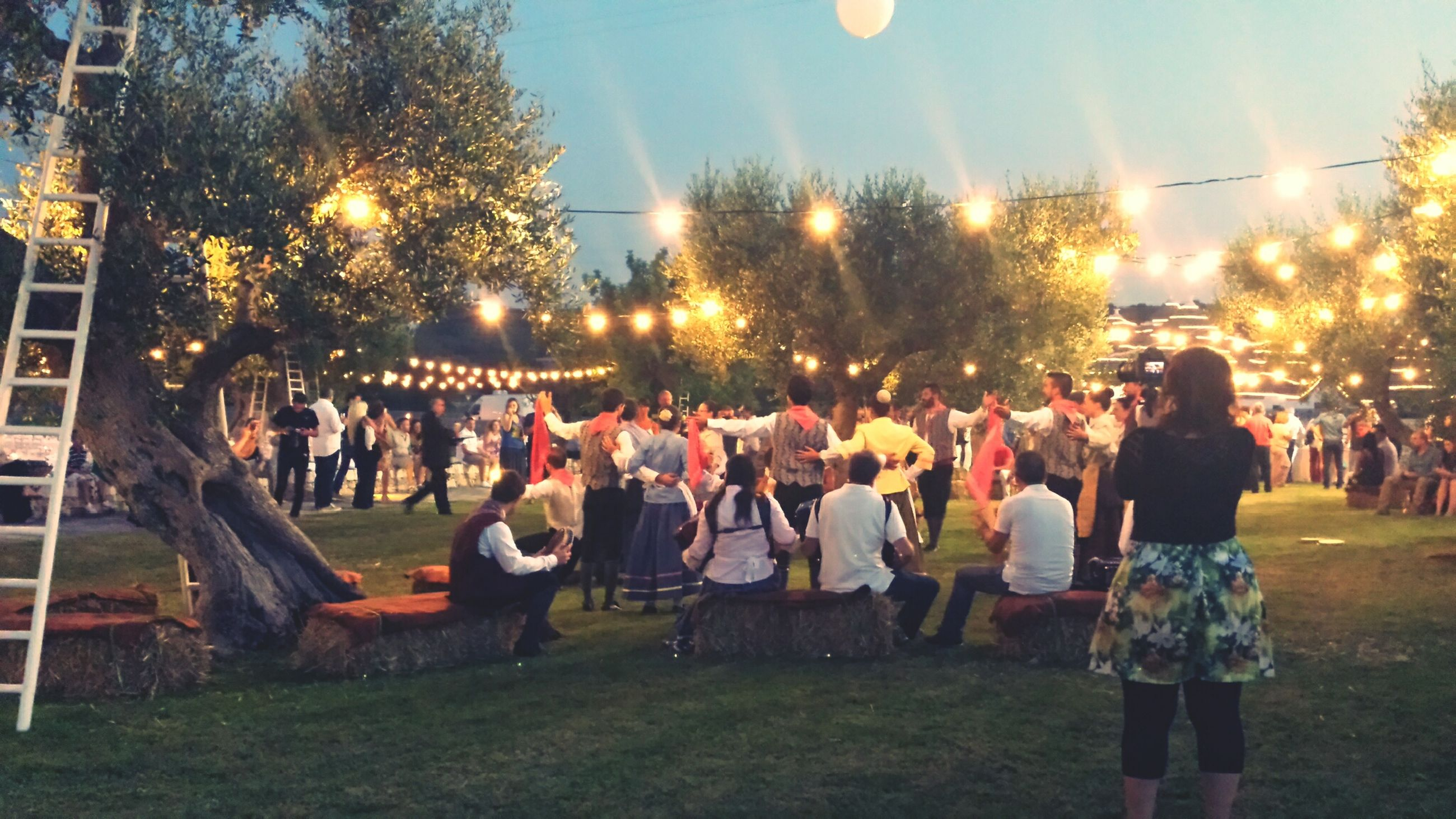 leisure activity, lifestyles, illuminated, large group of people, men, arts culture and entertainment, person, enjoyment, celebration, night, fun, event, grass, togetherness, sky, tree, crowd, playing, sitting