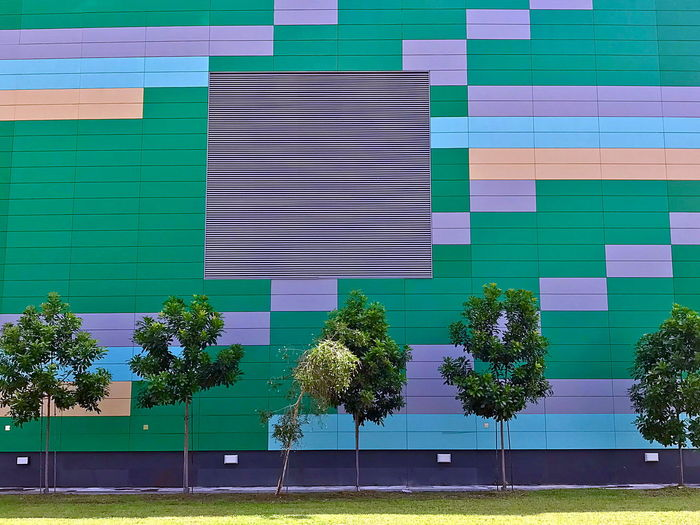 Architecture Built Structure Plant Building Exterior Tree Multi Colored Day No People Building Green Color Window Outdoors Wall - Building Feature City Nature Glass - Material Modern Street Pattern Sky Tree