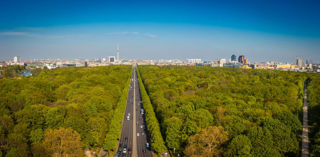 Berlin, view from the siegessäule over the park and ctity