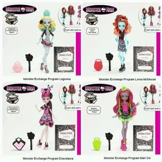 Look @rochelle_spectra Looks Like There Is More :) Lagoona From Spain, Lorna From Scotland, Draculaura From Japan, And The Other One From Mexico (I Don't Know The Name) Monsterhigh NewDolls