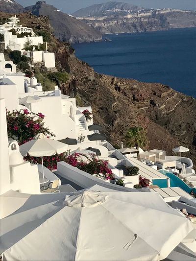 iOS Santorini, Greece Mountain Building Exterior Architecture Built Structure Whitewashed No People High Angle View