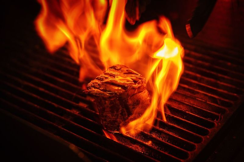 BBQ Cooking Flame Grilled Steak House Fire Outdoorcooking Tasty !