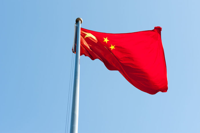Chinese Flag 5 Star Service China Chinese Flag Clear Sky Day Flag Low Angle View No People Outdoors Patriotism Red Sky Waving