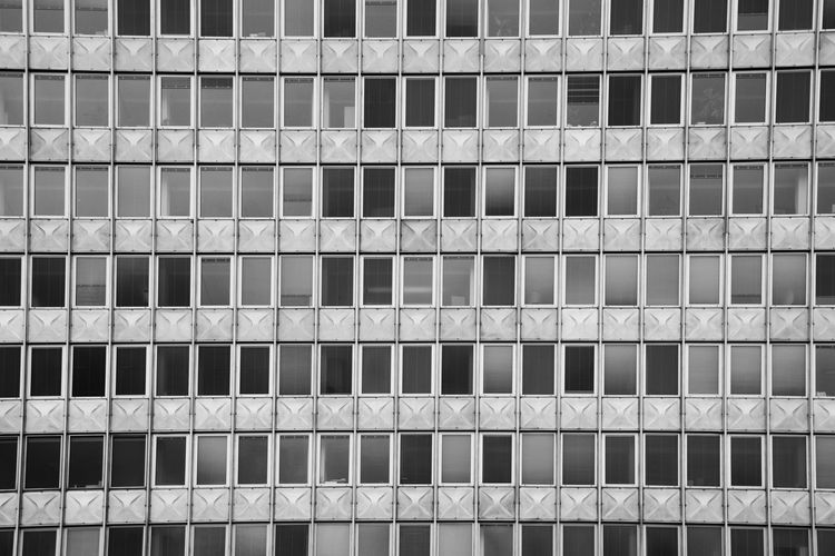 City Cityscape Blackandwhite Backgrounds Full Frame Window In A Row Arrangement Architecture Building Exterior Built Structure Repetition Order Grid Block Geometric Shape