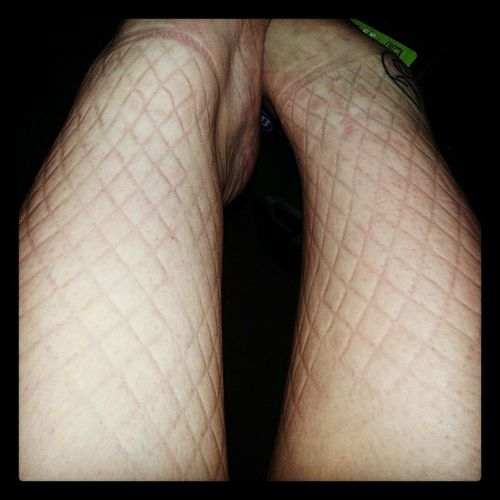 Bout outfit aftermath. Worth it. Theskatersgrim Undeadbettys Fishnets Boutday boysonskate @undeadbettysrollerderby