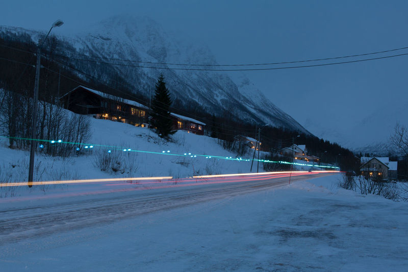 Light Trail On Snow Covered Road