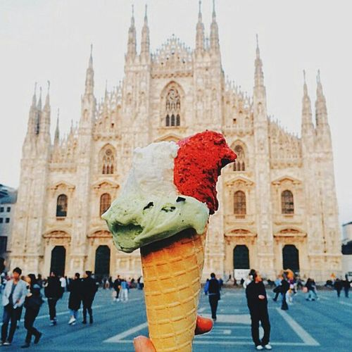 Building Exterior Travel Destinations Men People Architecture City Adult Adults Only Clock Tower Outdoors Day Italia Italy Milan Milano Ice Cream Food Dessert Gelato Church Cathedral Europe