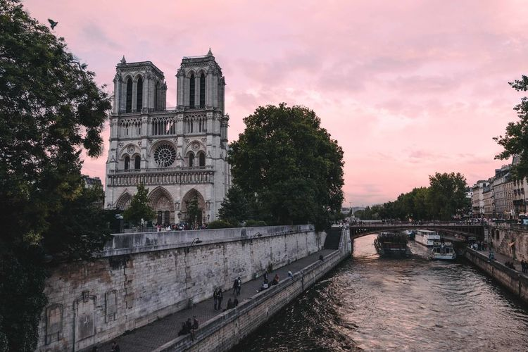 Cotton candy skies over Notre Dame in Paris. Architecture No People French Architecture Travel Photography Dream Destination Paris, France  Tourism EyeEm Selects Notre Dame De Paris Cathedral Seine River Sky