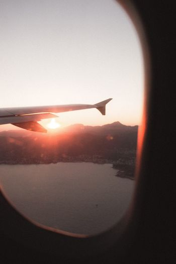 Flying Sunset Airplane Sun Window Clear Sky Journey Holiday Canon Canonphotography Analogue Photography Old First Eyeem Photo