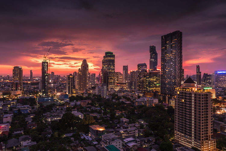 The night city scape of Sathorn business district, Bangkok. Bangkok City City View  Cityscape Night Lights Nightphotography Office Building Sky First Eyeem Photo